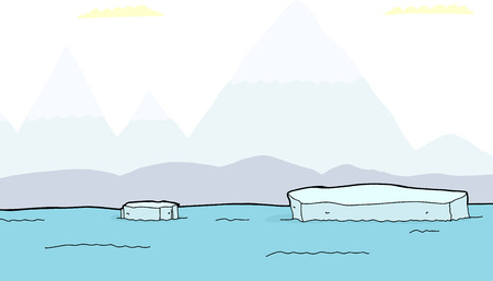 Floating chunks of icebergs with mountains in background