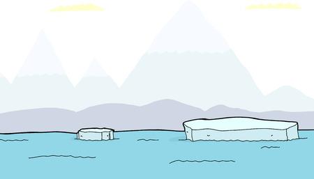 Drijvende brokken van ijsbergen met bergen op de achtergrond