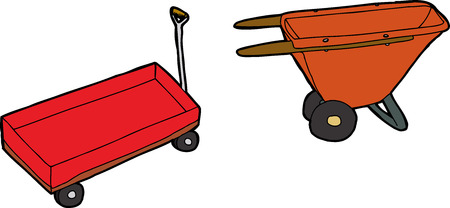 Empty illustrated wheel barrows on white background Vector