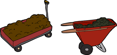Full illustrated wheel barrows on white background Vector