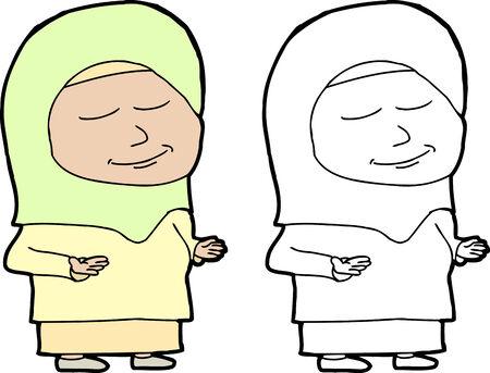 covering eyes: Single Muslim female standing in prayer over white background