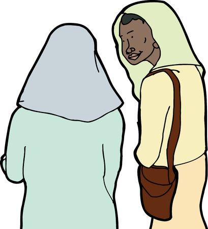 easygoing: Friendly Muslim woman listening to friend talk