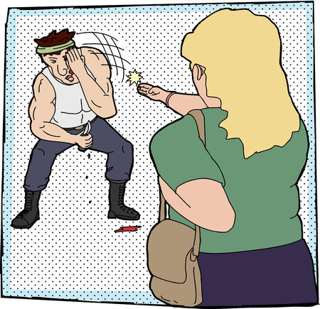 mugging: Woman jabbing male attacker in the eye