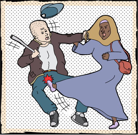 skinhead: Muslim woman kicking man pulling on her head scarf
