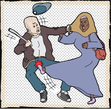Muslim woman kicking man pulling on her head scarf