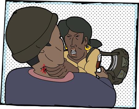 grabbing: Brave woman strangling criminal with knife illustration