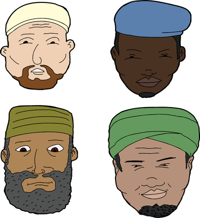 Diverse set of bearded Muslim men on white background Vector