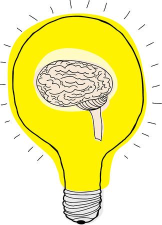 Human brain inside light bulb over white background Ilustração