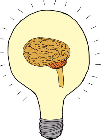 icon idea idiom illustration: Isolated bright light bulb with brain inside Illustration