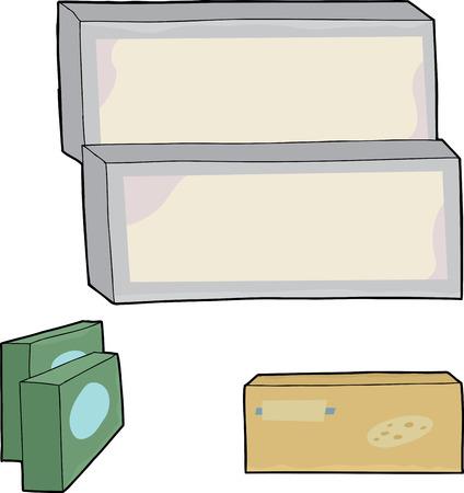 unprinted: En blanco de dibujos animados caja de comida congelada en el fondo aislado