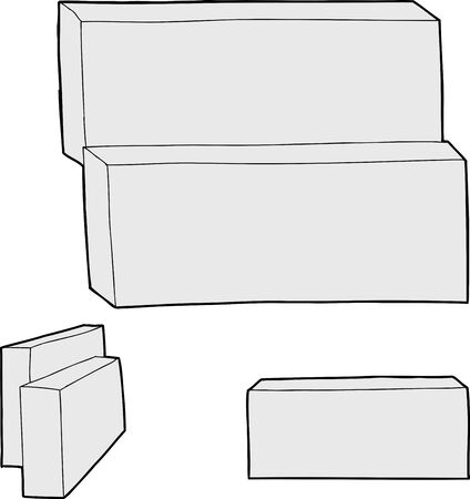 unprinted: Blank rectangular cartons over isolated white background Illustration
