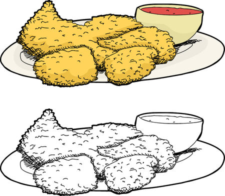 Isolated cartoon plate of fried chicken and hot sauce Vector