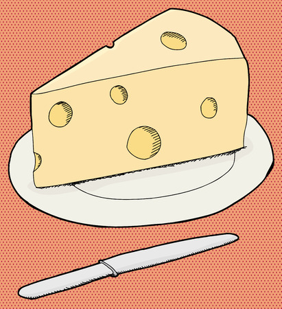 chunk: Cheese on plate and knife over halftone background Illustration