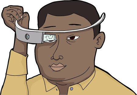 looking through an object: Black man fitting wearable technology glass device on head