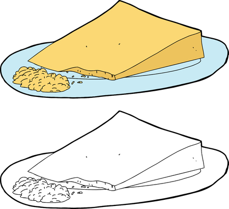 Wedge of cheese on plate with grated portion