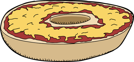 bagel: Pizza bagel met cheddar kaas op geïsoleerde achtergrond