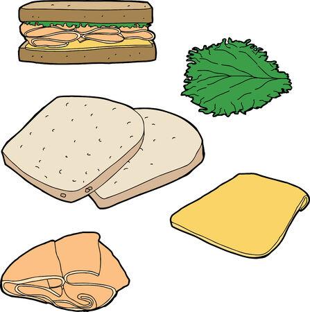 salumi affettati: Parti di un sandwich di tacchino su sfondo bianco Vettoriali