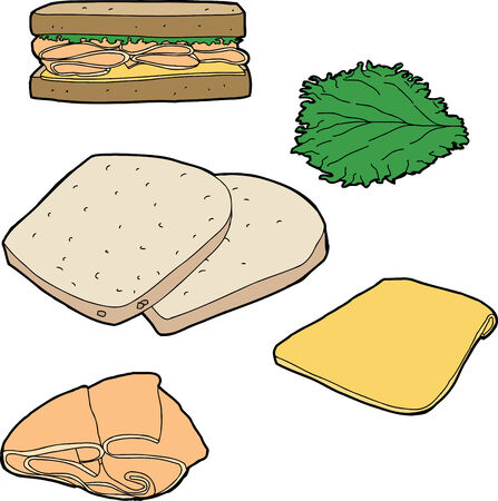 leaf lettuce: Parts of a turkey sandwich on white background