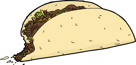 Single taco with missing bite over white background