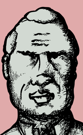 Abstract sketch of balding middle aged man
