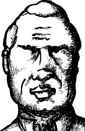 Black ink sketch of mature balding man