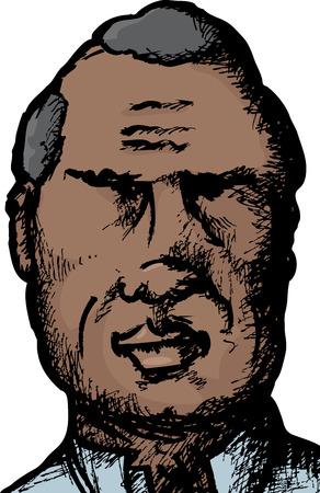clipart wrinkles: Close up sketch of handsome Hispanic man