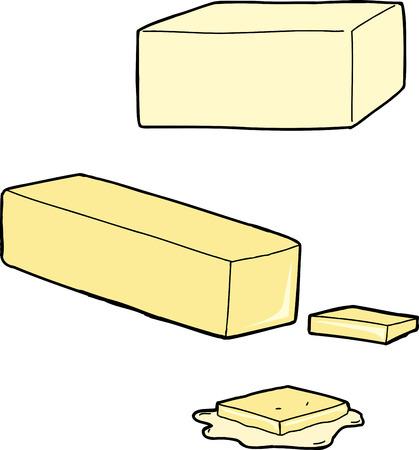 schmalz: Butter wie ein Stock, geschnitten und auf wei�em geschmolzen