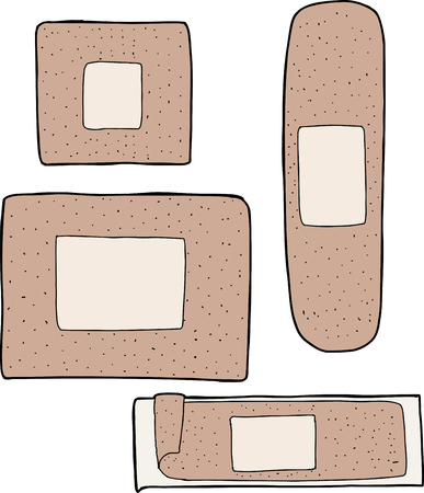 Set of various adhesive bandage drawings on white