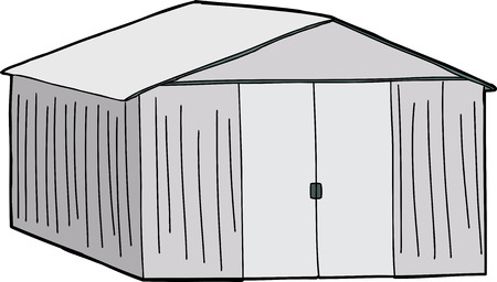 empty warehouse: Cartoon of large shed with double doors on white