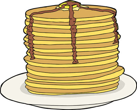 Tall stack of flapjacks with melted butter and syrup