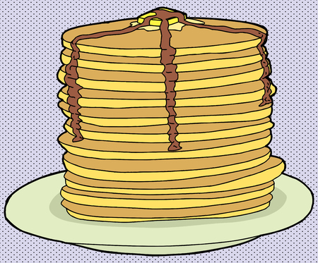 Stack of delicious pancakes on halftone  Illustration