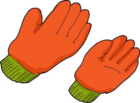 Pair of orange work gloves over isolated  Çizim