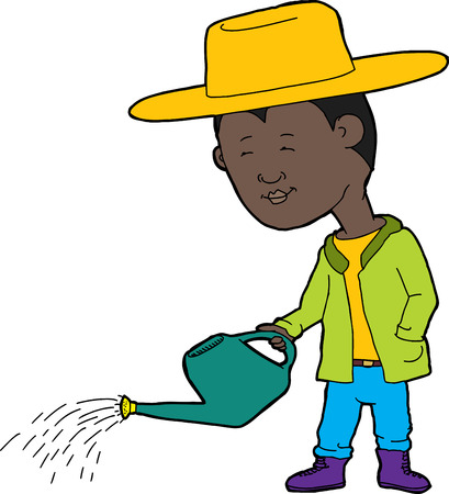 sprinkling: Cartoon of cute farmer and watering can with drops of water