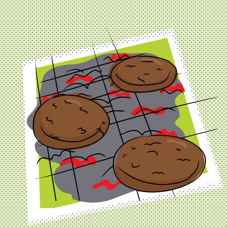Cartoon of burgers on abstract charcoal grill