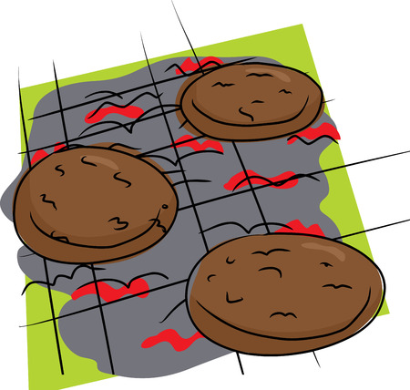 Isolated doodle drawing of burgers on grill