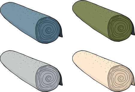 孤立した背景にカーペットの別着色されたロールのセット