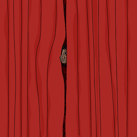 insecure: Cartoon of man peeking from behind red curtains Illustration