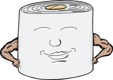 toilet paper art: Strong roll of toilet paper with smiling face Illustration
