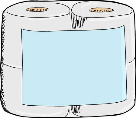 toilet paper art: Generic toilet paper package with blank label on white background