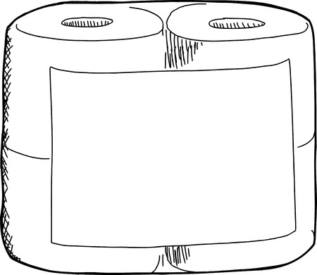 toilet paper art: White toilet paper package with blank label on isolated background