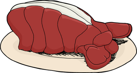 lobster tail: Cartoon of lobster tail dish on isolated background