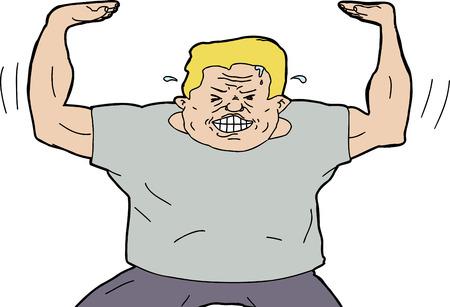 Isolated single strong blond man pushing something upwards Ilustrace