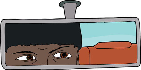 rear view mirror: Indian male driver looking in rear view mirror Illustration