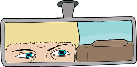 rear view mirror: Caucasian driver looking through rear view mirror in car Illustration