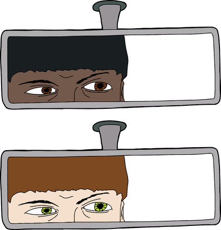 Driver looking through rear view mirror with copy space Vector