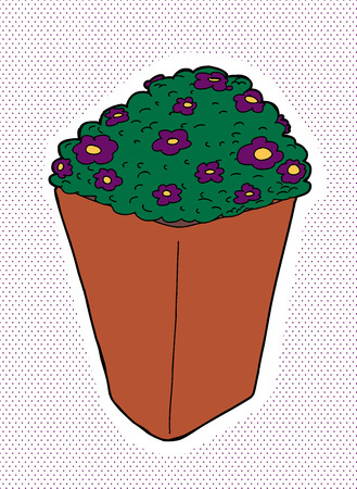clay pot: Purple pansies in clay pot over halftone background