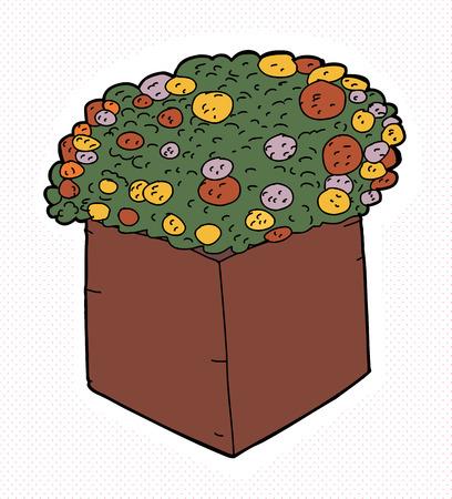 Pretty marigolds in square box over halftone background