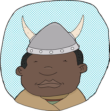 Black viking with helmet on blue halftone background 일러스트