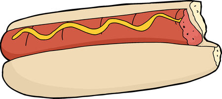 two and a half: Hot dog with missing bite over white background Illustration