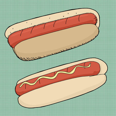 super dog: Pair of hot dogs on green halftone background